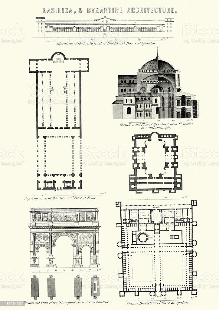 Basilica And Byzantine Architecture Stock Vector Art