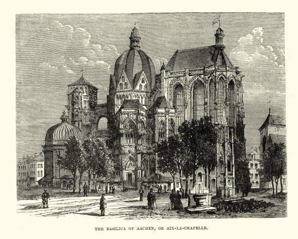 Basilica of Aachen, Germany, 19th Century Vintage engraving of the Basilica of Aachen, Germany, 19th Century. Aachen Cathedral was erected on the orders of Charlemagne in AD 796 lachen stock illustrations