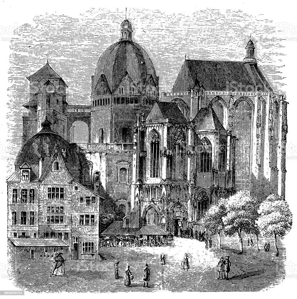 Basilica of Aachen, Germany, 19th Century vector art illustration