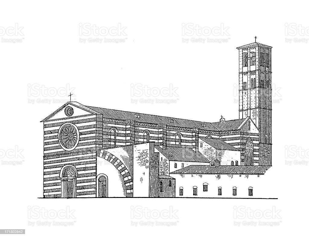 Basilica of Saint Clare, Assisi, Italy | Antique Architectural Illustrations royalty-free stock vector art