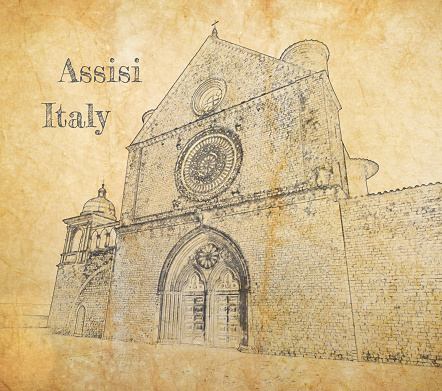 Basilica of Saint Francis, Assisi, Italy, sketch on old paper