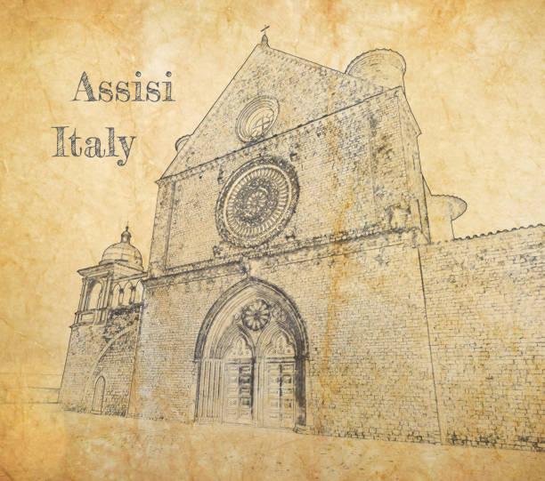 saint francis bazilikası, assisi, i̇talya, eski kağıt üzerinde kroki - pope francis stock illustrations