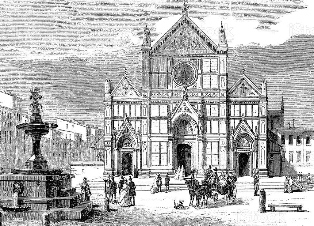 Basilica of Santa Croce, Florence vector art illustration