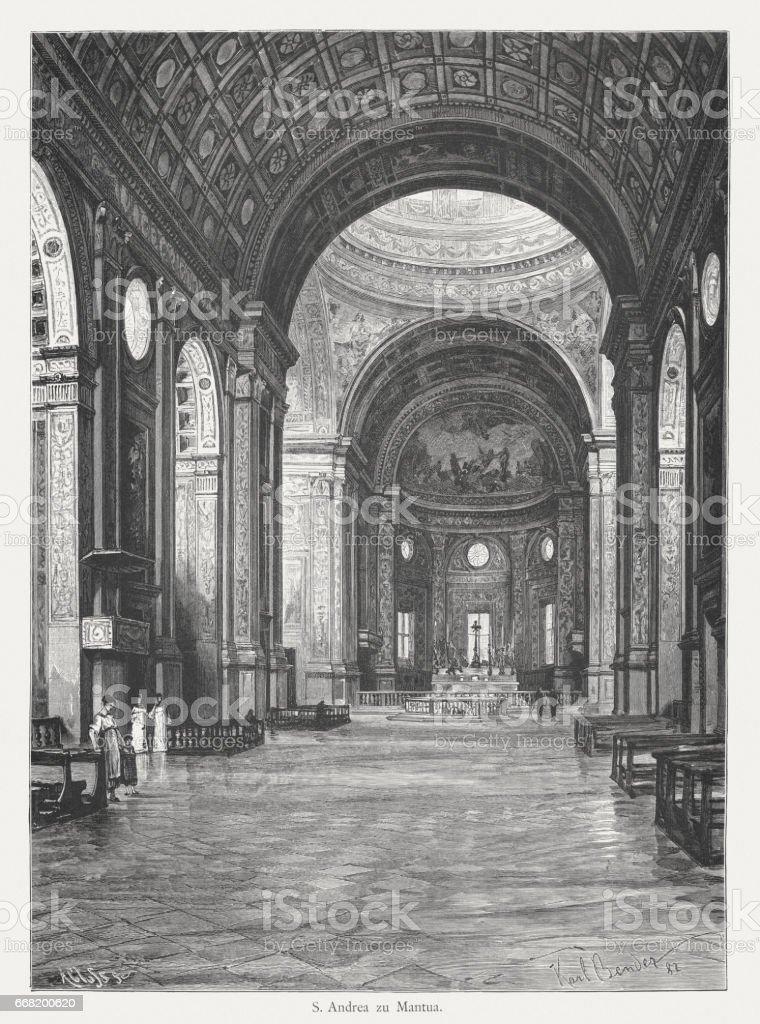 Basilica of Sant'Andrea, Mantua, Italy, built 1472-1514, published in 1884 vector art illustration