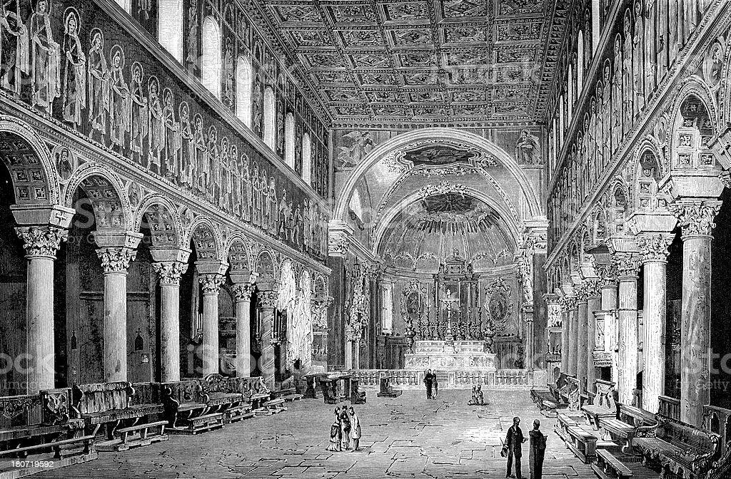 Basilica of Sant'Apollinare Nuovo in Ravenna, Italy royalty-free stock vector art