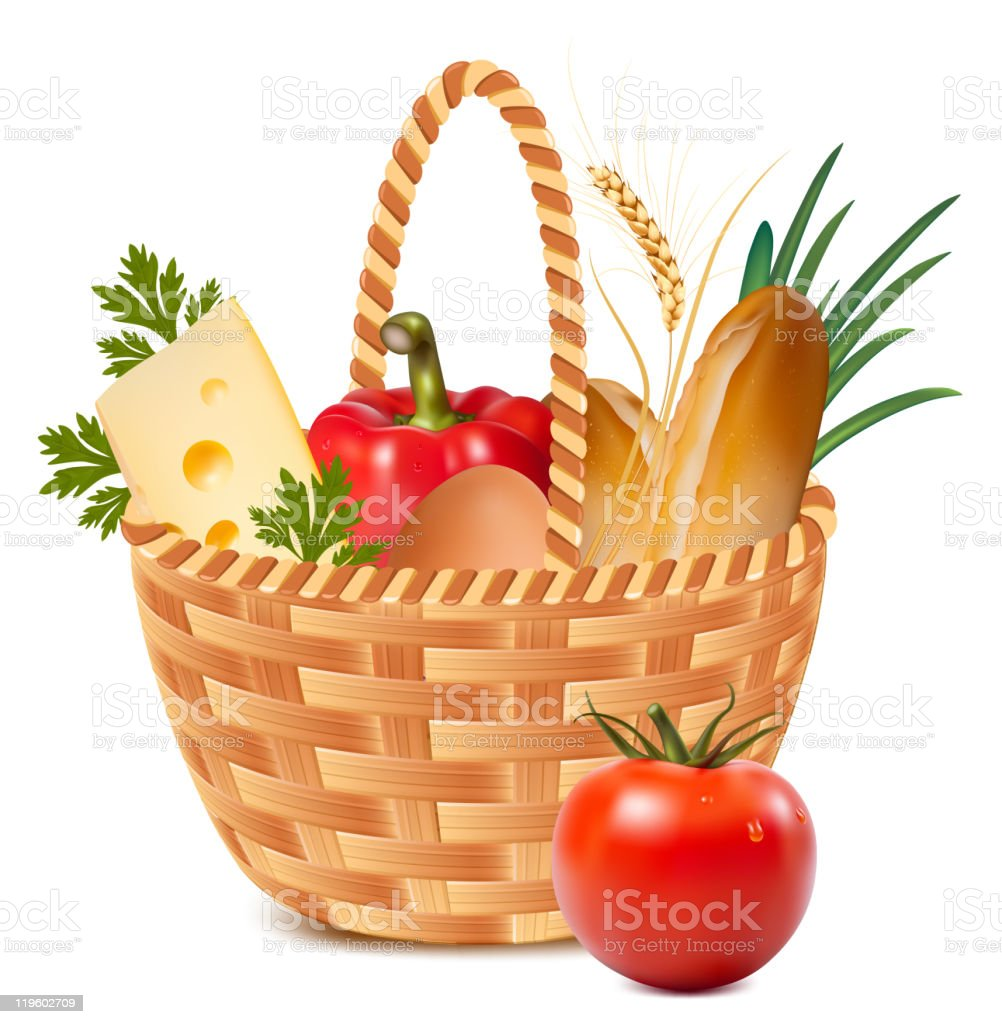 Basket full of basic food royalty-free stock vector art
