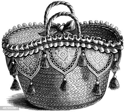 Antique engraving of a basket
