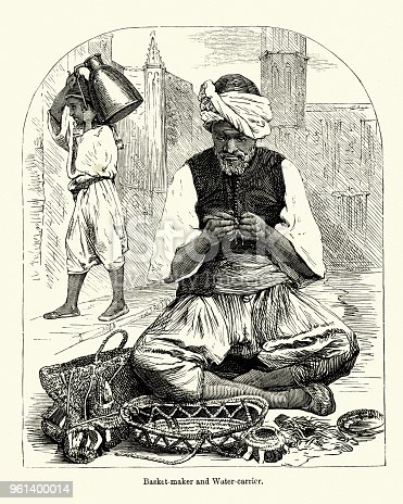 Vintage engraving of a Basket maker and Water carrier, Algeria, 19th Century