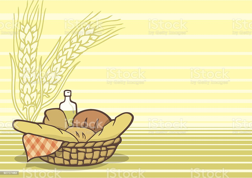 Basket of breads vector art illustration