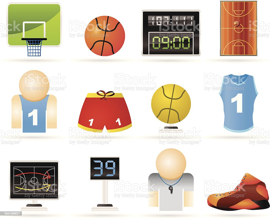 Basketball and sport icons vector art illustration