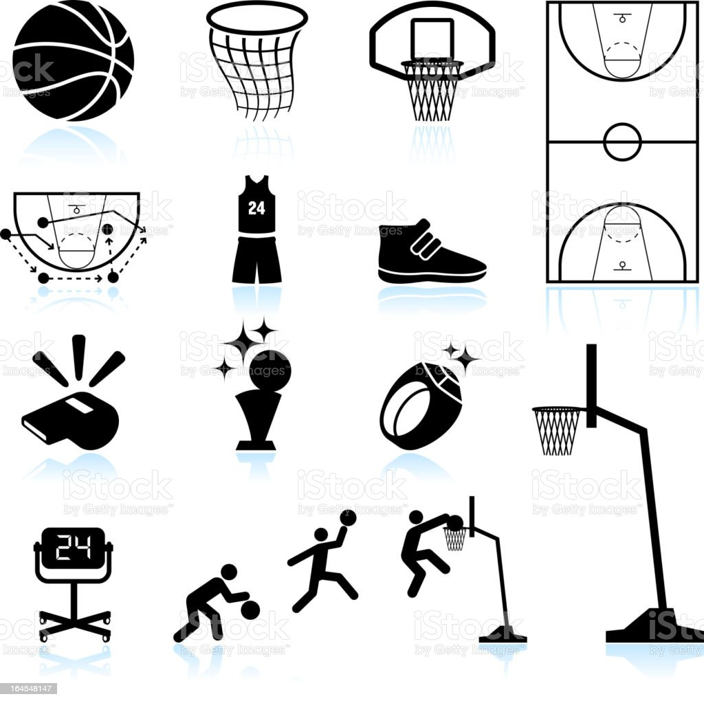 Basketball black and white royalty free vector icon set royalty-free basketball black and white royalty free vector icon set stock vector art & more images of back board