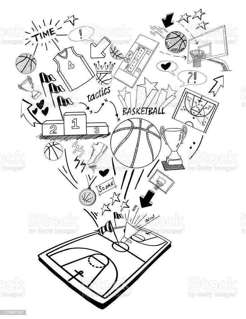 Dibujo a mano garabatos-baloncesto - ilustración de arte vectorial