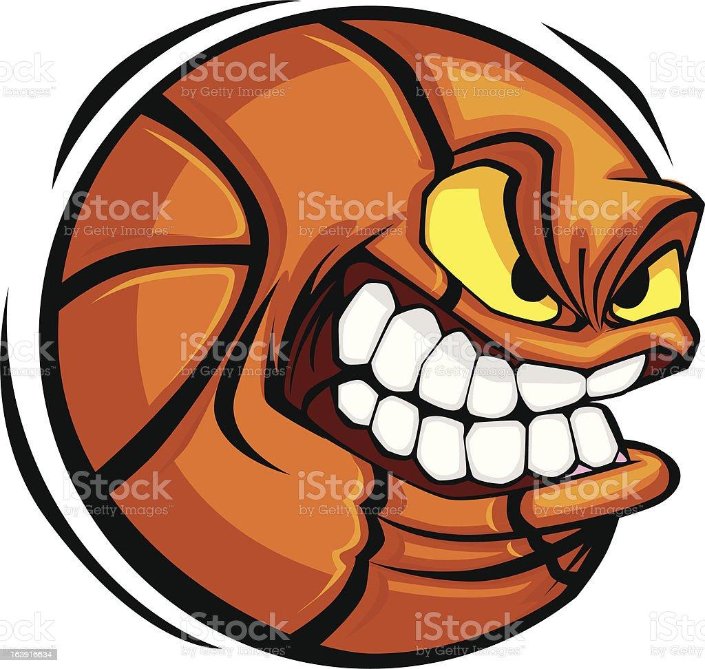 ilustração de rosto bola de basquete dos desenhos animados vetor de
