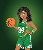 """""""Vector Illustration of a beautiful girl with a green team jersey, who is holding a basketball. The background is on a separate layer, so you can use the illustration on your own background. The colors in the .eps-file are ready for print (CMYK). Included files: EPS (v8) and Hi-Res JPG."""""""