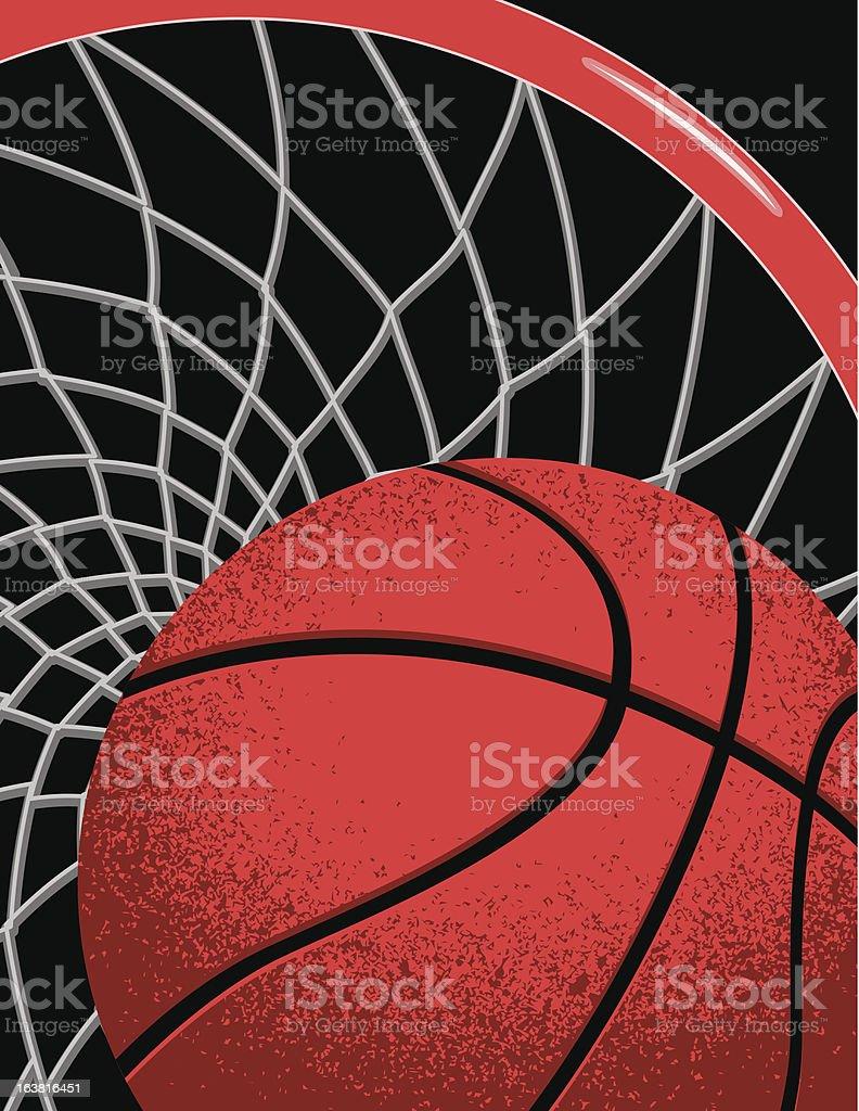 Basketball going through net royalty-free stock vector art