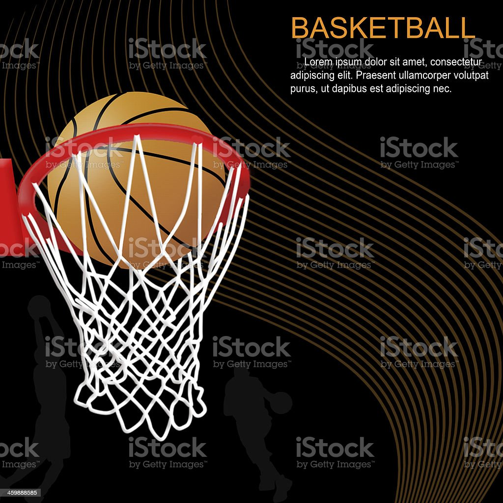 Basketball hoop and ball on abstract background vector art illustration