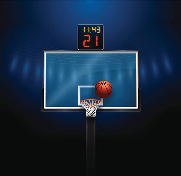 Basketball Hoop Basketball hoop and ball. EPS 10 file. Transparency used on highlight elements. basketball hoop stock illustrations
