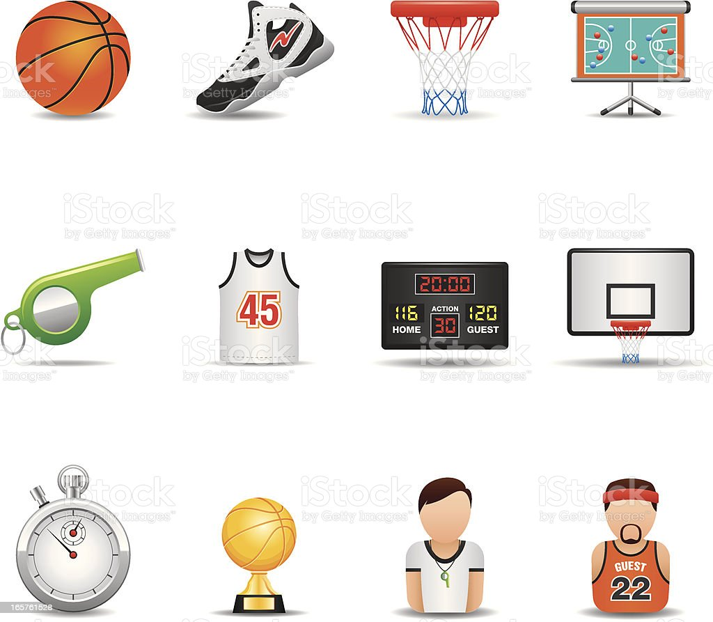 Basketball Icon Set | Elegant Series royalty-free stock vector art
