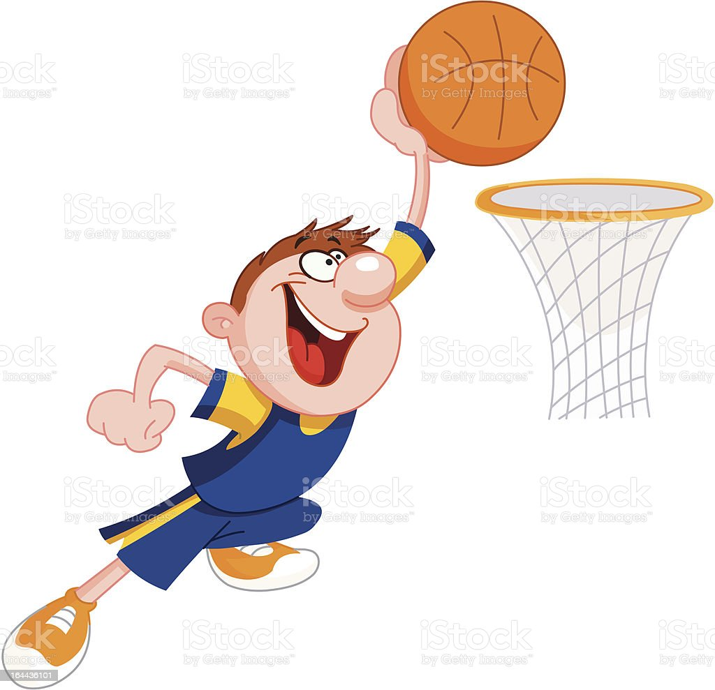 Basketball kid vector art illustration