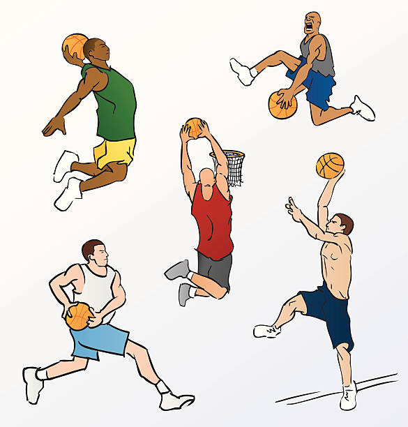 Drawing Of A Basketball Player Slam Dunk Clip Art Vector Images Illustrations