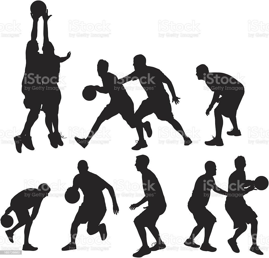 Basketball players playing ball vector art illustration