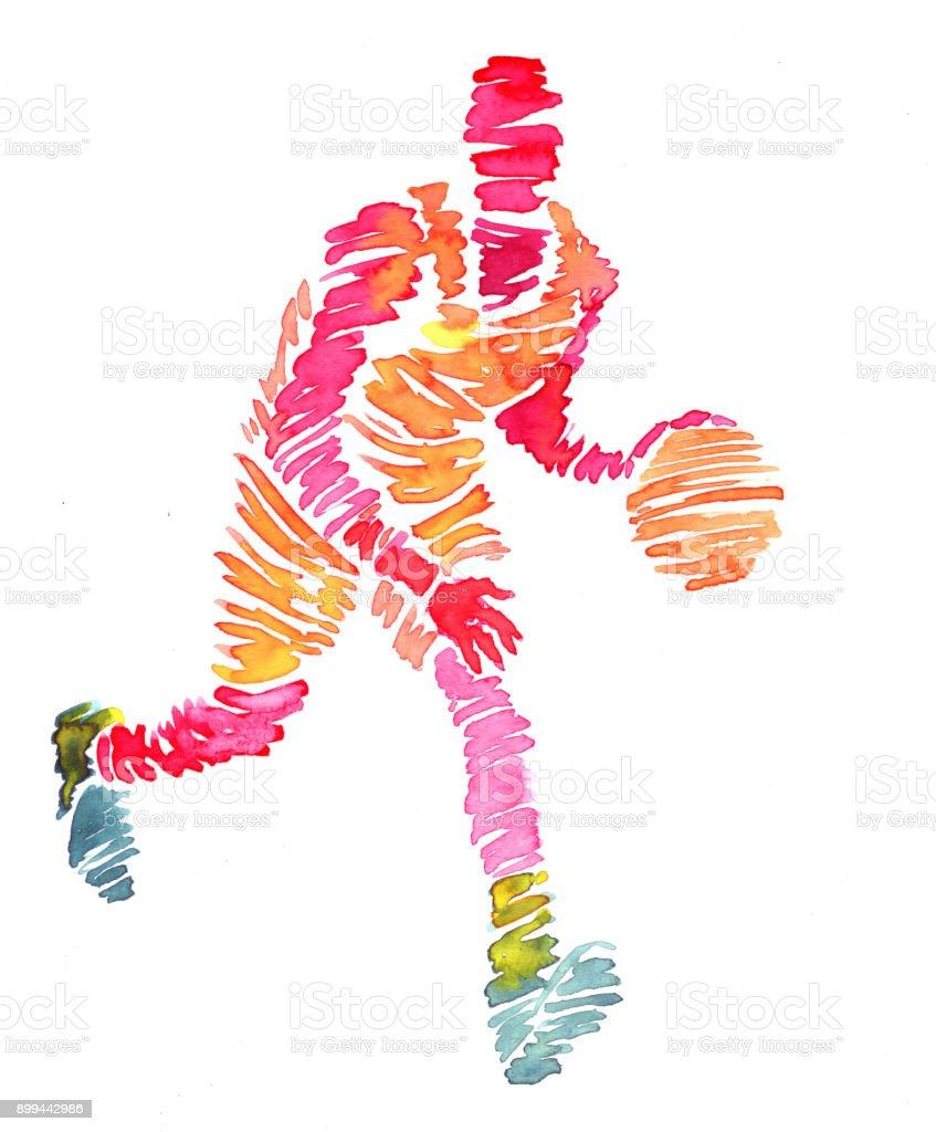 Basketball players watercolor vector art illustration