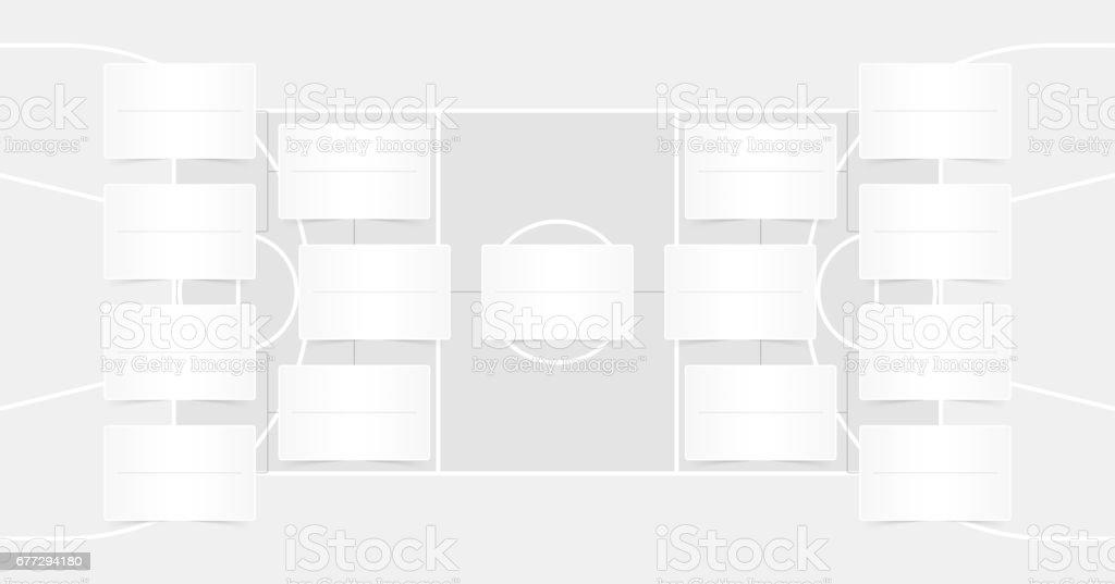 Basketball playoffs schedule - playoff bracket - Basketball playoffs - Transparent color vector art illustration