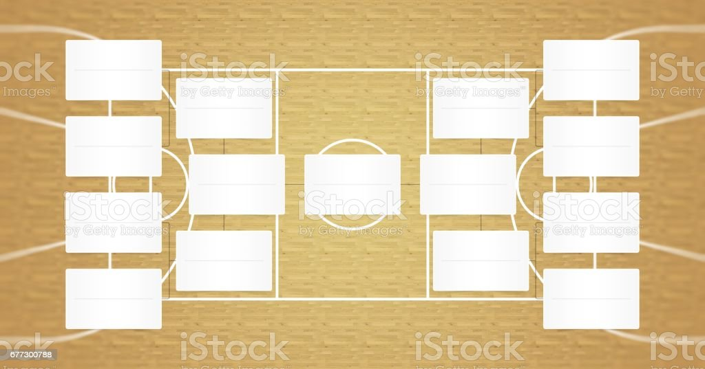 Basketball playoffs schedule - playoff bracket - Basketball playoffs - Natural wood floor color vector art illustration