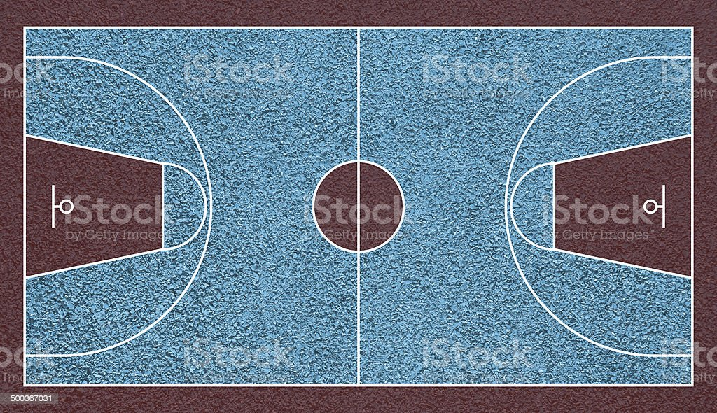 Basketball realistic court top view field textured vector art illustration