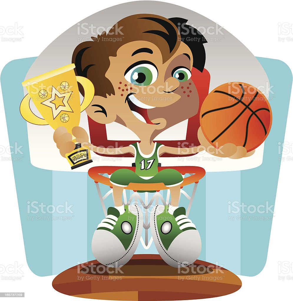 Basketball Winner on Hoop royalty-free basketball winner on hoop stock vector art & more images of basketball - sport