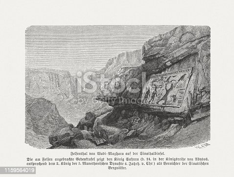 Historical view of an ancient bas-relief of Pharaoh Sahure, located on the rocks of Wadi Magharah (Valley of Caves), in the Sinai Peninsula. It shows the destuction of Sinai hill tribes by the pharaoh. Wood engraving, published in 1879.
