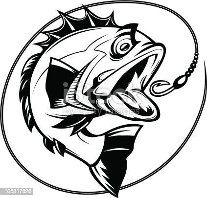 istock bass fishing graphic 165817828