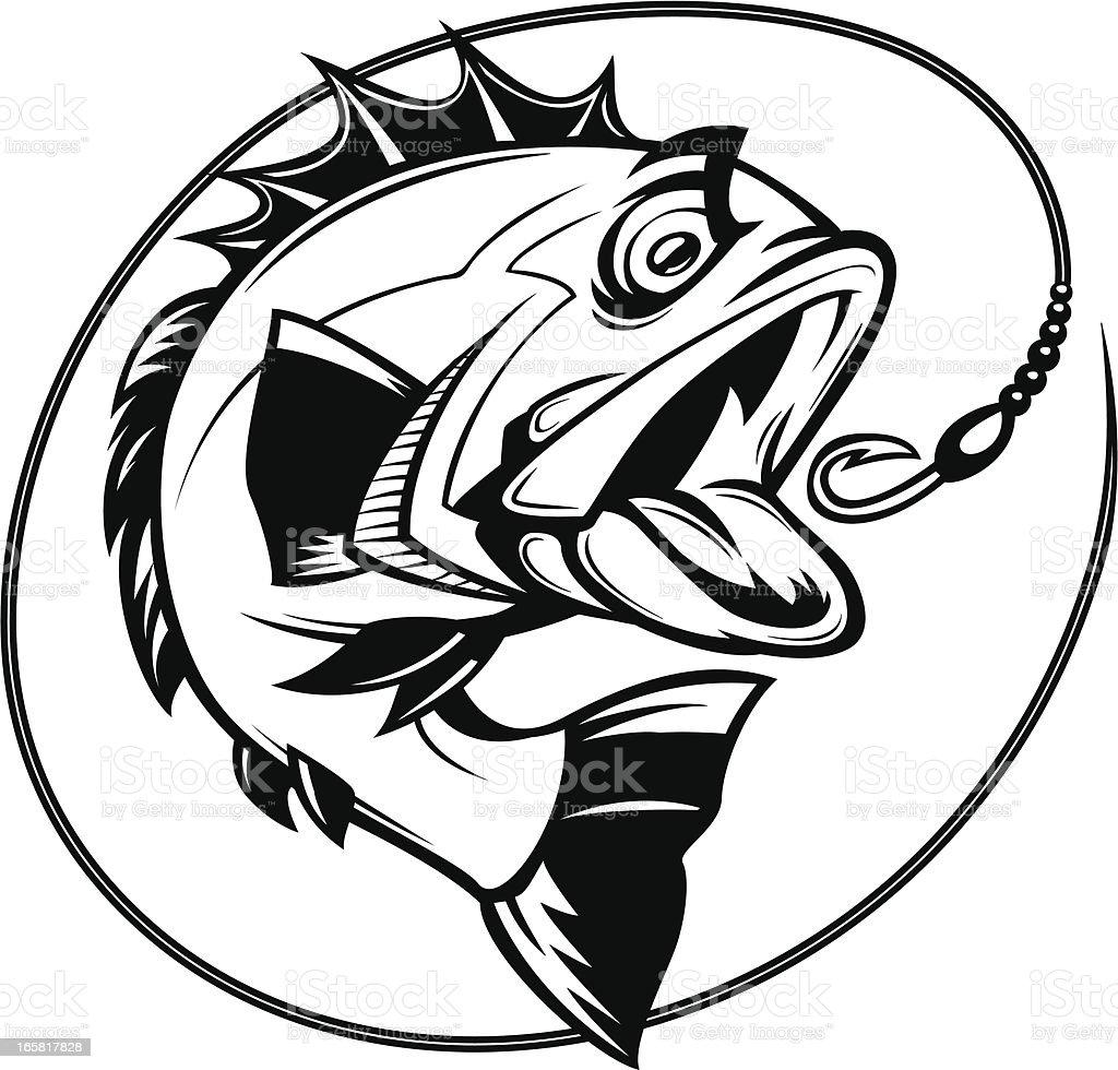 Бас рыбалка изображение векторная иллюстрация