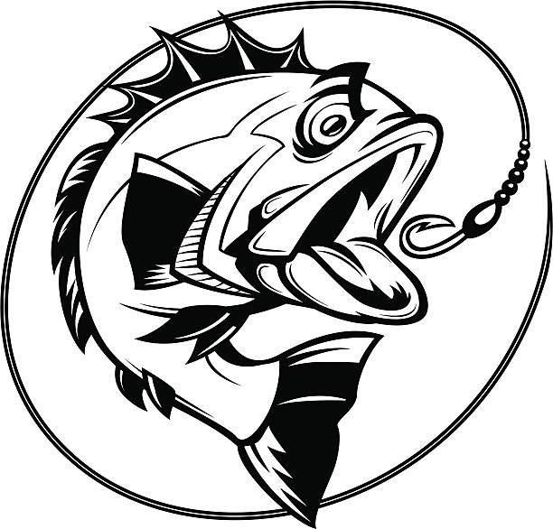 bass ジョンフィッシンググラフィック ベクターアートイラスト