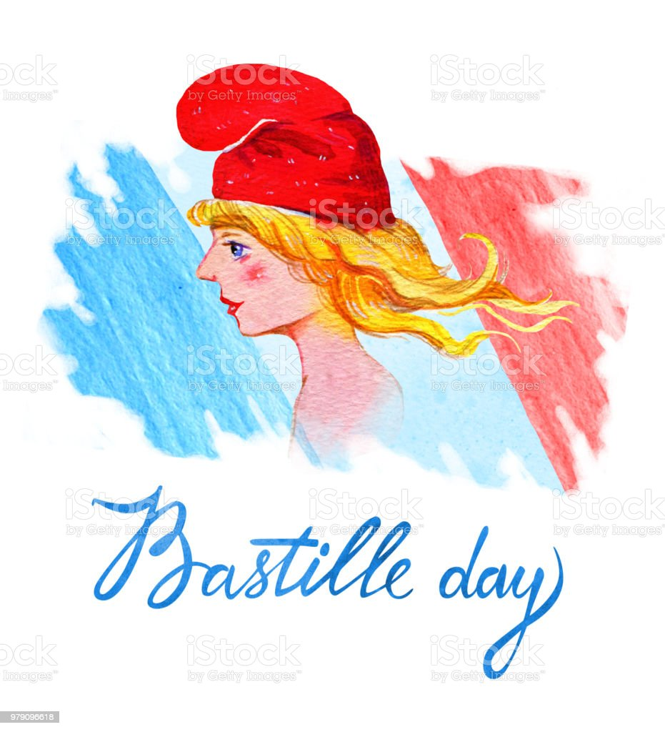 Bastille day. 14 juillet. Carte de voeux jour National Français et conception de l'affiche. La main dessinée illustration Aquarelle avec Marianne, symbole français et pavillon de la France - Illustration vectorielle