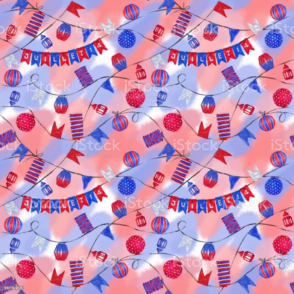 Bastille Day Celebration Seamless Pattern. vector art illustration