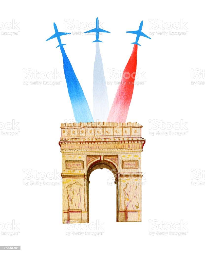 Frankrikes Nationaldag Franska Nationella Dag Gratulationskort Och Affisch Design Hand Dras Akvarell Illustration Med Triumfbage Och Flygplan Med Flagg Vektorgrafik Och Fler Bilder Pa Affisch Istock