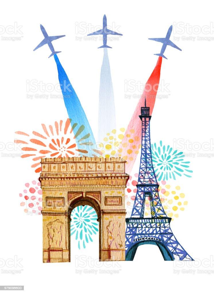 Frankrikes Nationaldag Franska Nationella Dag Gratulationskort Och Affisch Design Hand Dras Akvarell Illustration Med Triumfbagen Eiffeltornet Flygplan Med Frankrike Och Fyrverkeri Flagga Vektorgrafik Och Fler Bilder Pa Affisch Istock