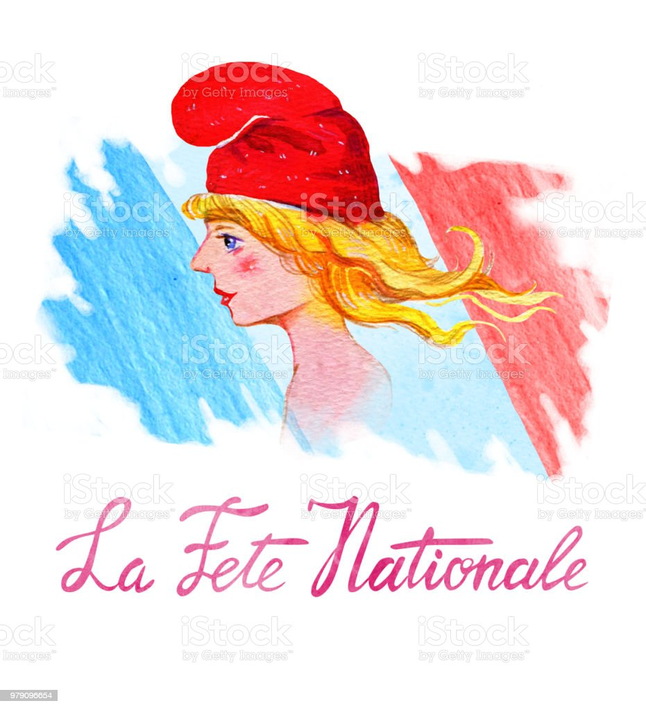 Bastille day. La Fête Nationale. Texte « Jour National Français ». Conception de cartes et d'affiches. La main dessinée illustration Aquarelle avec Marianne, symbole français et pavillon de la France - Illustration vectorielle