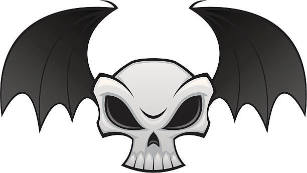 Bat Wing Skull vector art illustration