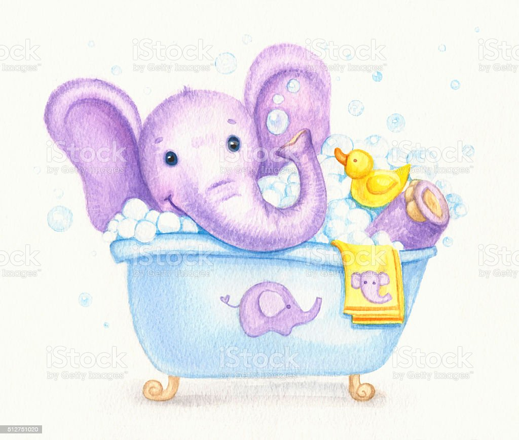 Bathing elephant. vector art illustration