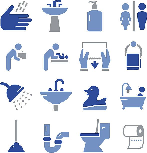 łazienka ikony-seria pro - fontanna stock illustrations