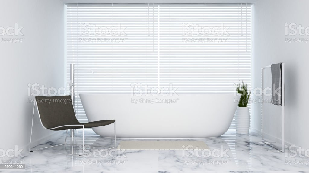 bathroom white tone in  hotel or apartment vector art illustration