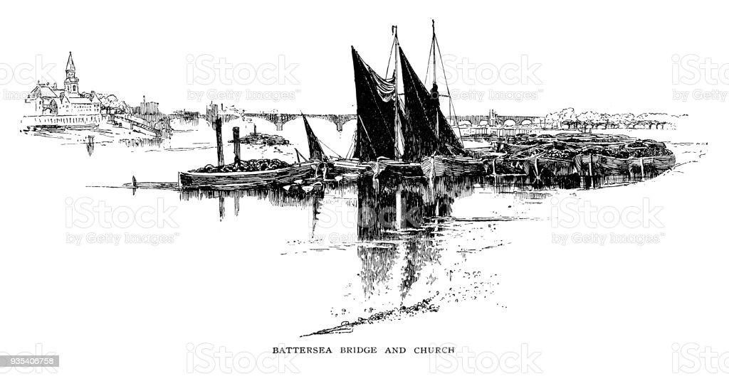 Battersea bridge and church vector art illustration