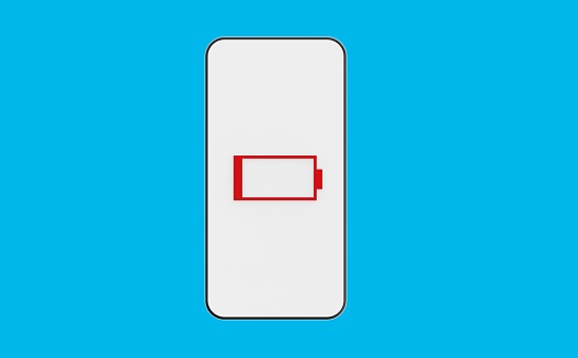 Battery indicator. Discharged smartphone. Lack of energy. Smartphone with a discharged battery on a blue background