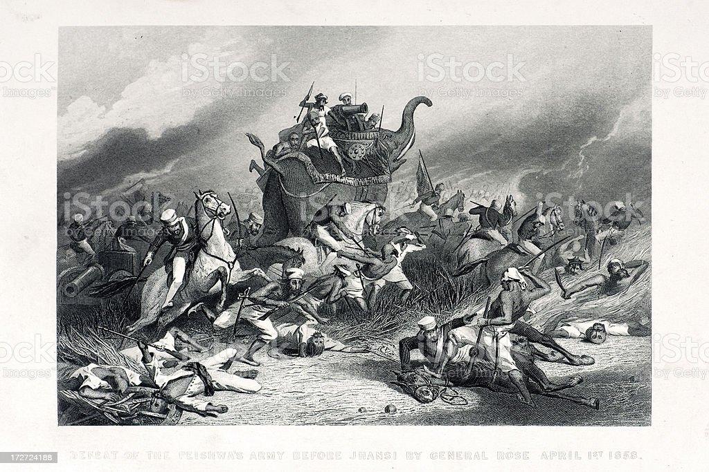 Battle at Jhansi vector art illustration