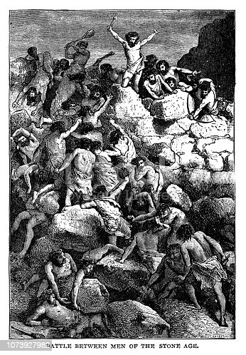 Battle between men of the stone age - Scanned 1890 Engraving