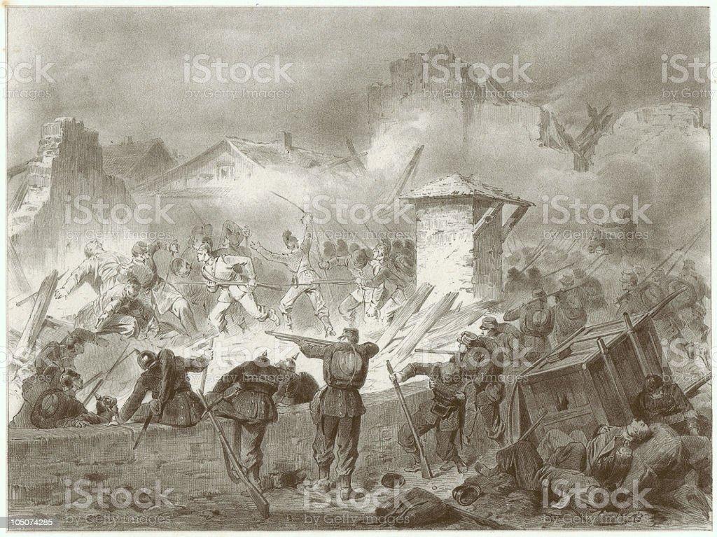 Battle in Froeschweiler, Franco-German War, 1870/71, by Carl von Haeberlin royalty-free stock vector art
