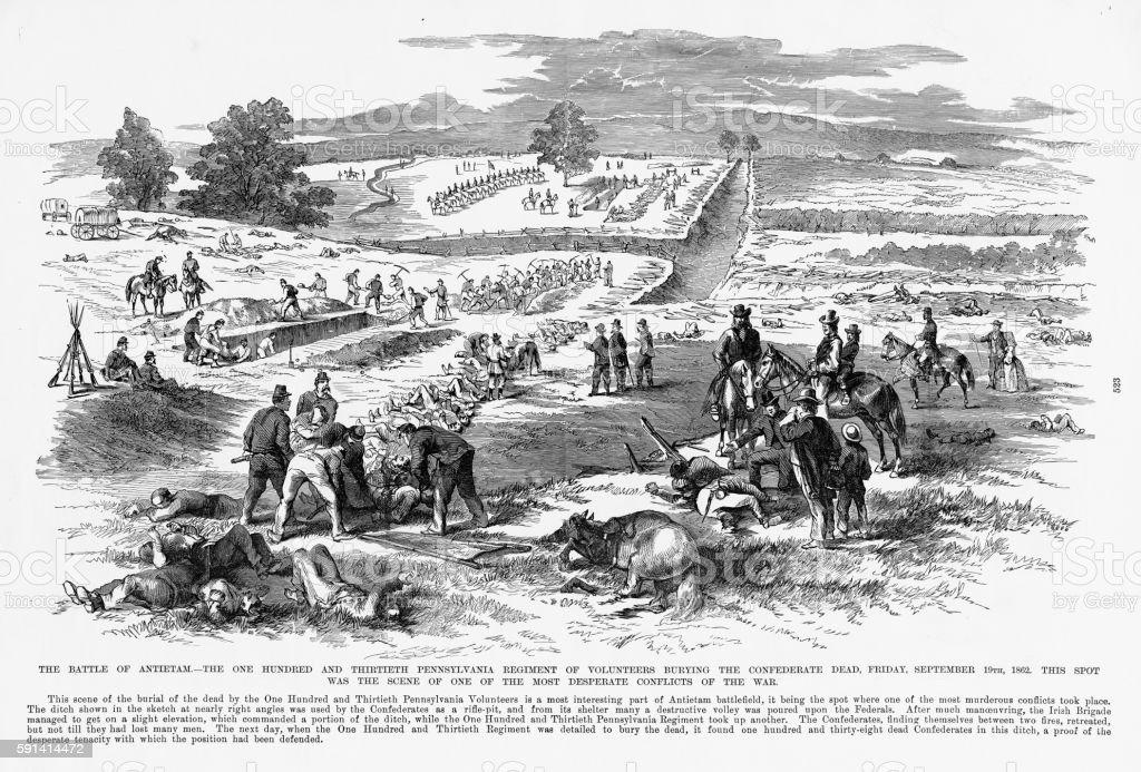 Battle of Antietam, Maryland, September 19, 1862 Civil War Engraving vector art illustration