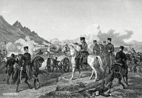 Engraving From 1881 Featuring The Battle Of Buena Vista From The Mexican-American War In 1847.
